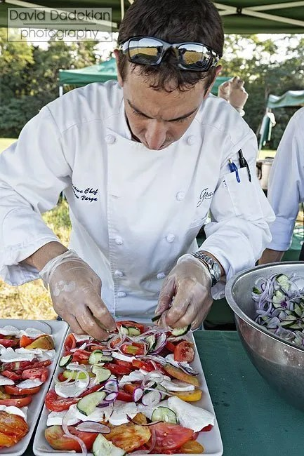 Matthew Varga plating the salad course
