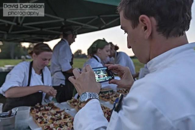 Matthew Varga photographing Danielle Lowe plating dessert