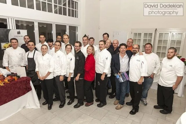 From left to right, in the alternating back row: Johnson & Wales Executive Director of Alumni Relations Steven Shipley, Edward Bolus of Mill's Tavern, Rizwan Ahmed of Hourglass Brasserie, Raymond Montaquilla of the Coast Guard House, Ryan Escudé of Centro, Jules Ramos of 1149, Tim Shook of Gracie's, Ben Lacy of Tastings Wine Bar & Bistro, Champe Speidel of Persimmon, Benjamin Sukle of The Dorrance, Mike McHugh of Julian's, Reddick Vaughan of Julian's, David Cardell of Temple, Joe Simone of The Sunnyside and David Lieberman of Tastings Wine Bar & Bistro. In front from left to right: Danielle Lowe of Gracie's, Matthew Varga of Gracie's, Melissa Denmark of Gracie's, Michael Hervieux of Belle Mer, Jennifer Luxmoore of Sin, unnamed from Temple, Kevin Gaudreau from Trio and Jonathan Cambra from the Boat House. Not pictured: Matt Gennuso of Chez Pascal, Karsten Hart of Castle Hill Inn and Kevin Thiele of One Bellevue.