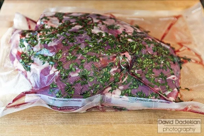 Leg of lamb, wet aging with herbs