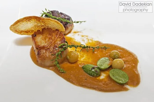 Coquilles St. Jacques à la Provençal - Roasted New Bedford Sea Scallop with Ratatouille Vinaigrette, Saffron Potato Crisp, and Verjus