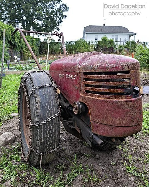 Antique David Bradley tractor that farm worker Chris Combs has helped to repair and use at New Urban Farmers