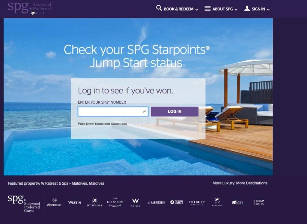 SPG Starpoints Jump Start - login page