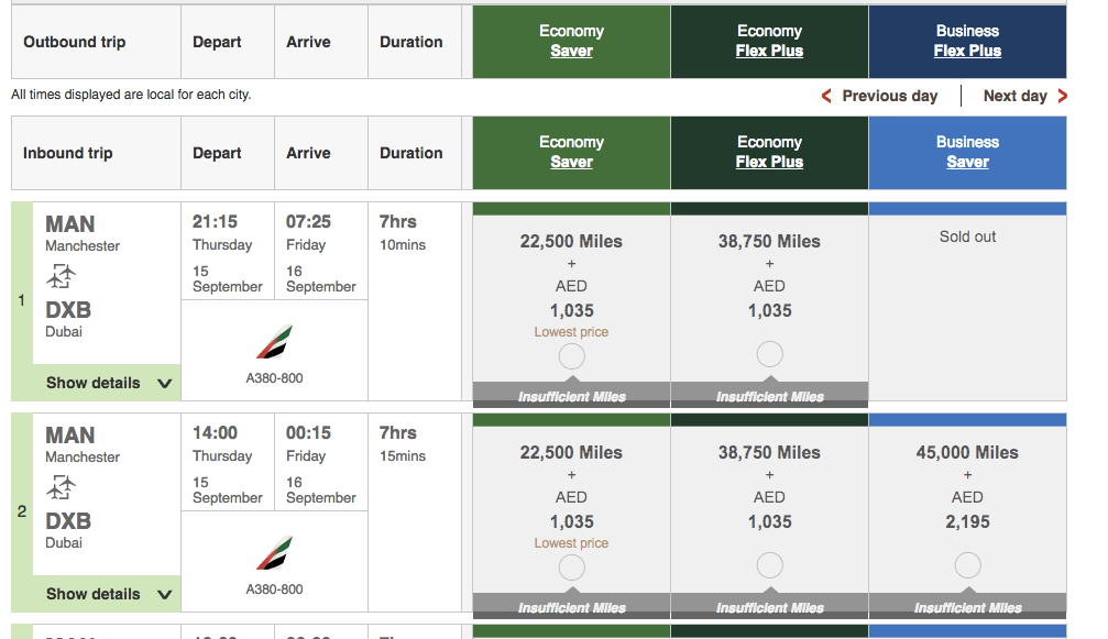 Points Miles Roulette Emirates 4
