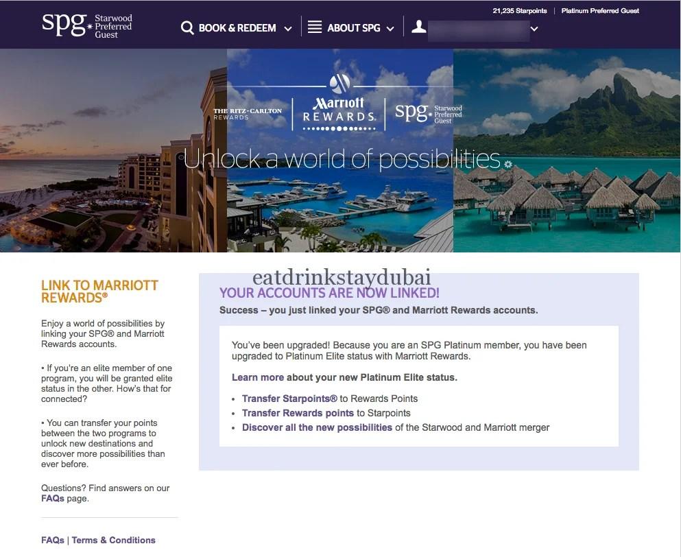 SPG Marriott Rewards Status Match - Success