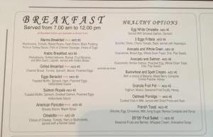 Dubai Marina Yacht Club Breakfast Menu 2