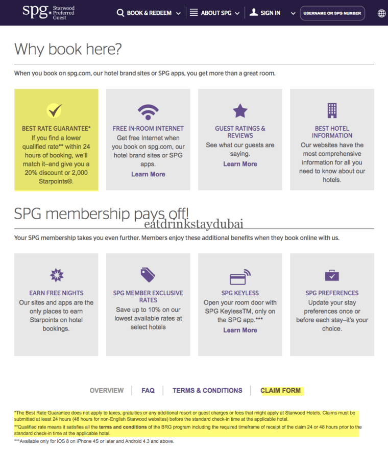 School of SPG 8 Starwood Preferred Guest Best Rate Guarantee