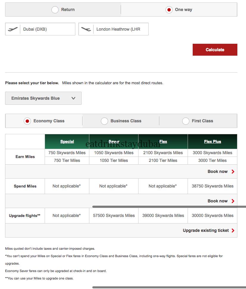 Emirates frequent flyer program miles DXB LHR oneway