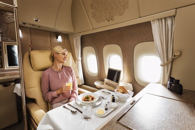Emirates Airlines First Class: dining
