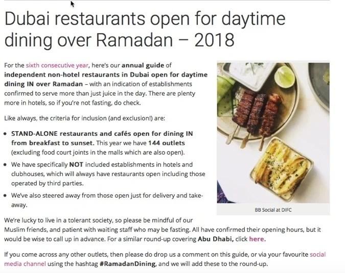 Ramadan Dubai Foodiva Daytime Dining Guide