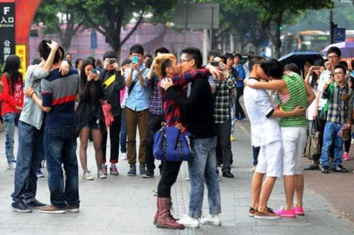 Gay Saigon kiss in