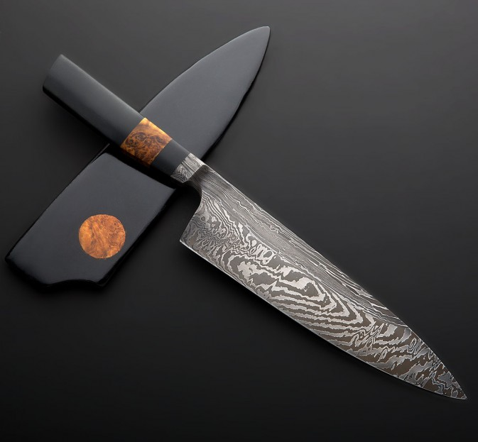damascus kitchen knives replacing cabinet doors nick anger chef knife 215mm eatingtools com