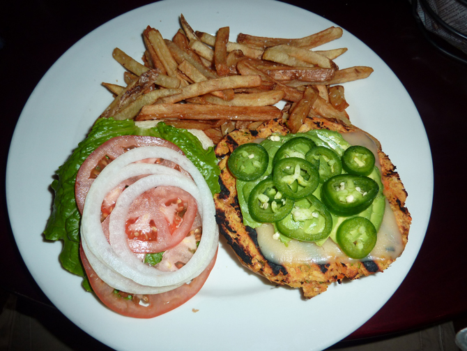 veggie burger and fries