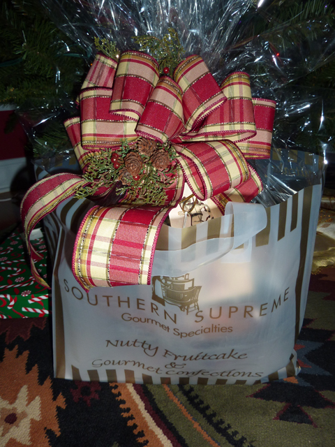 personalized gift basket under the Christmas tree
