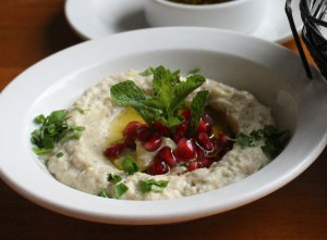 Baba Ghanouj – roasted eggplant whipped with tahini, garlic, yogurt and lemon juice