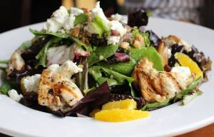 Goat Cheese & Orange Salad – mixed greens, sliced orange, goat cheese, dates and walnuts in a lemon vinaigrette