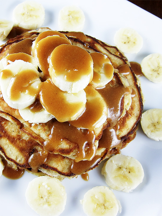 Banana Bread Pancakes with Peanut Butter Syrup