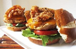 Turkey Bacon Burger with Onion Strings   www.EatLaughPurr.com