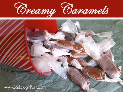 Creamy Caramels from www.EatLaughPurr.com #Caramels #ChristmasCandy