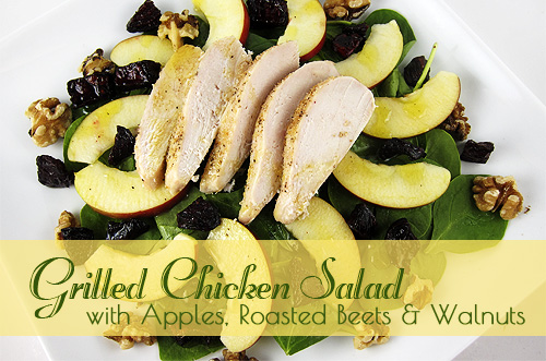 grilled chicken with beets, apples and walnuts