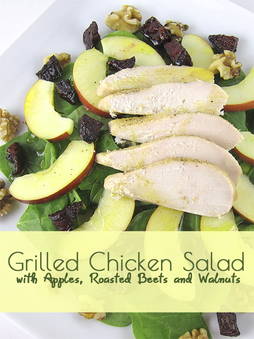 Grilled Chicken Salad with Apples, Roasted Beets and Walnuts @FallSalad #Salad #RoastedBeets