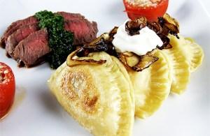 potato and cheddar pierogies