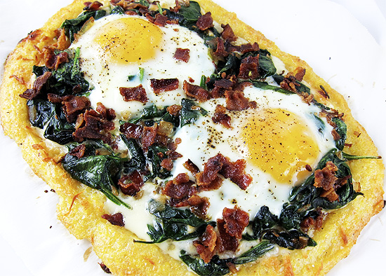 Polenta Pizza with eggs, spinach and bacon