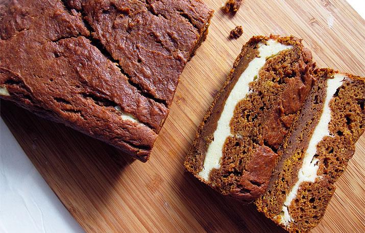 Pumpkin Bread with Cream Cheese Layer