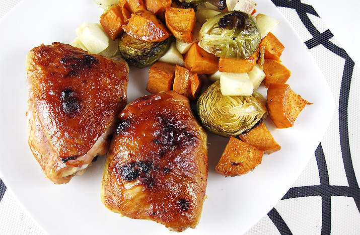 hard cider barbecue chicken with sweet potato medley