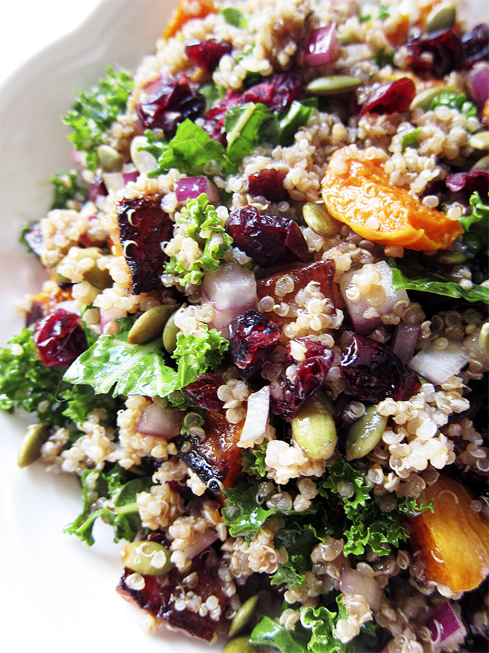 Autumn Salad with Quinoa, Butternut Squash, Kale and Cranberries. A hearty, good-for-you salad that makes a great side dish or entree.
