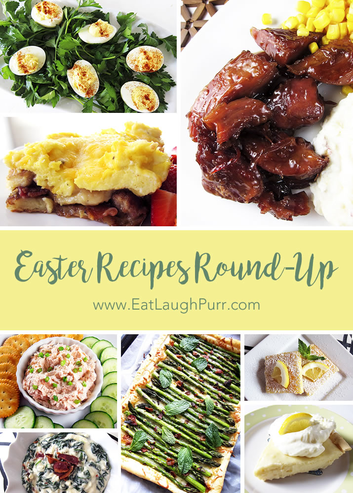 2017 Easter Recipe Round-Up featuring ham with pineapple brown sugar glaze, asparagus tart, pancake lasagna, garlic deviled eggs, lemon sour cream pie and more!