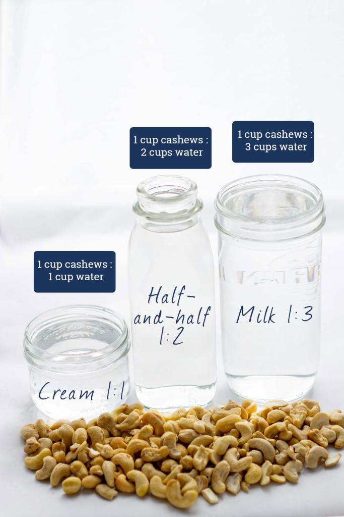 Cashew cream, cashew milk and cashew half-and-half ratios