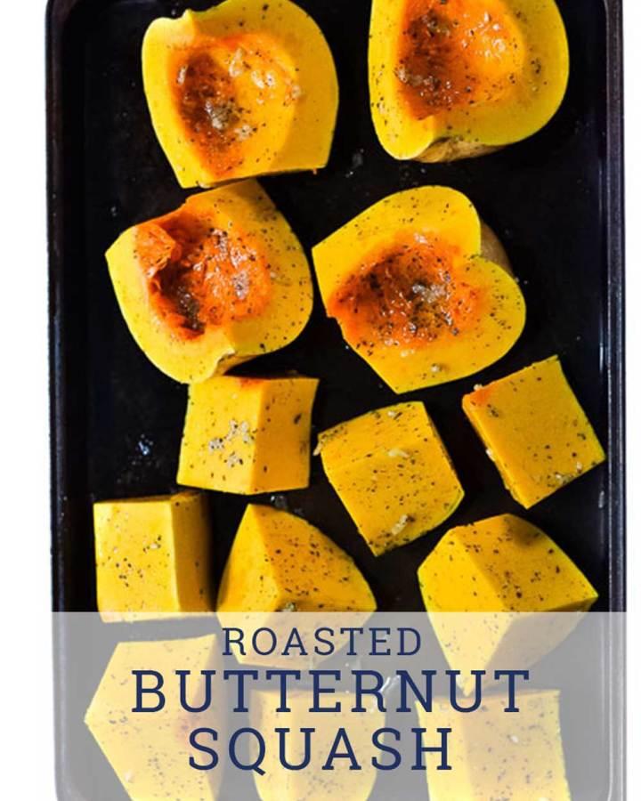 butternut squash on roasting pan