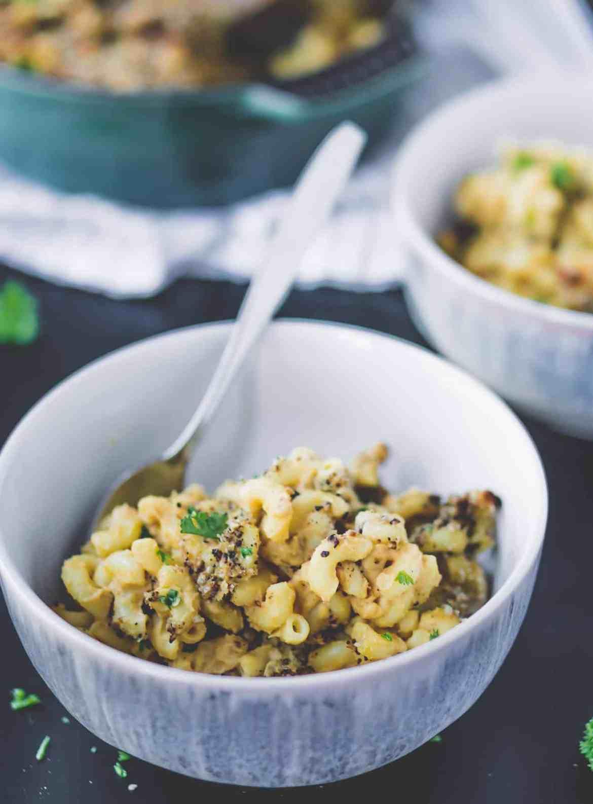 A bowl of vegan mac and cheese