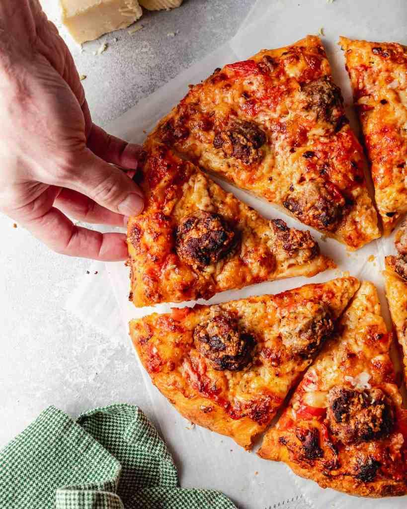 Easy Homemade Meatball Pizza