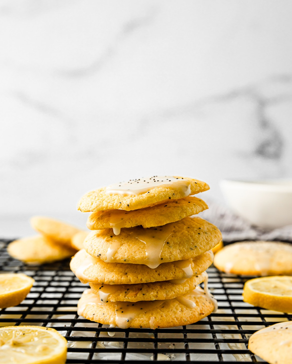 a stack of lemon poppy seed cookies