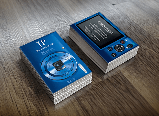 Blue Digital Camera Business Cards - eatlovepray