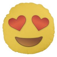 funny emoji merchandise heart for eyes pillows
