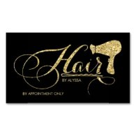 elegant gold glitter hair stylest businses cards with hairpin and hairdryer