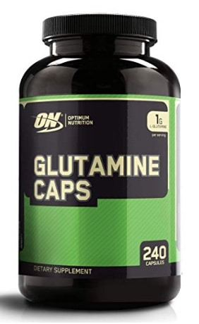 A photo of a glutamine supplement bottle.