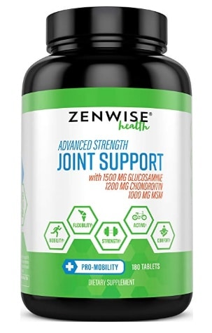 A photo of the Zenwise Joint Support supplement bottle.