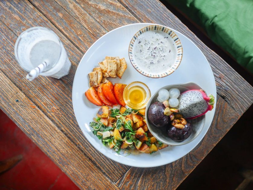 White Plate of Vegetables and Fruit