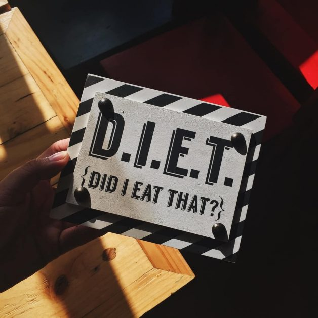 A sign that says DIET, as featured on a blog about healthy eating hacks