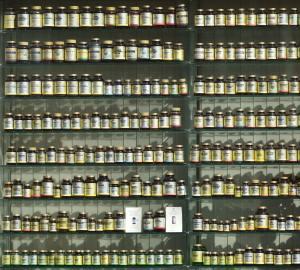 Wall of Vitamin Bottles