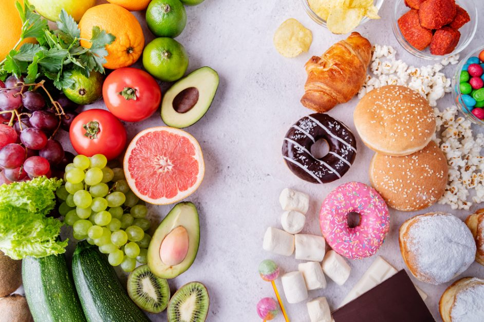 Mix of Healthy Foods and Unhealthy Foods
