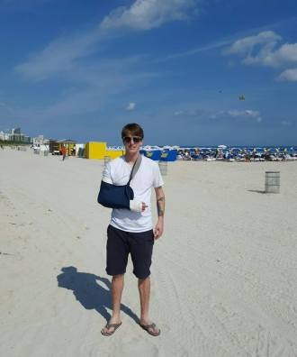 Trevor and his broken arms on Miami Beach