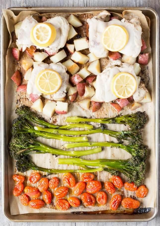 quick weeknight dinner lemon thyme chicken sheet pan