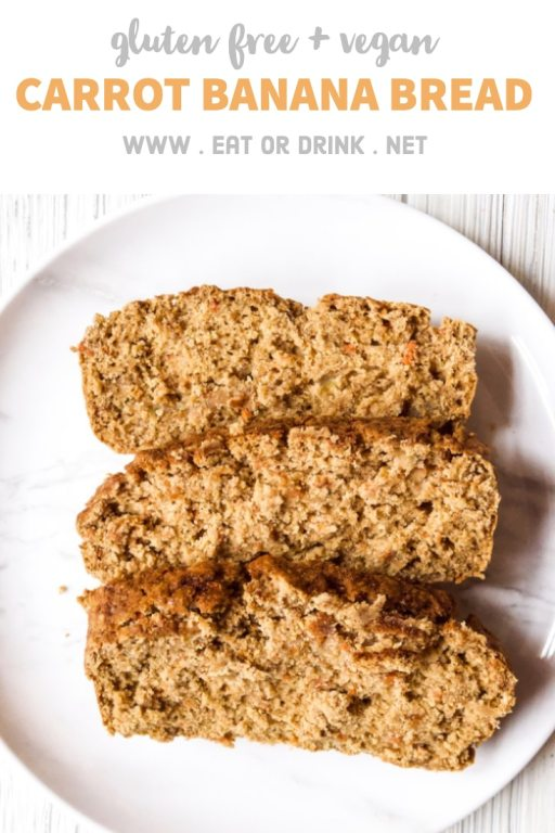 gluten free vegan banana bread with carrots and coconut sugar