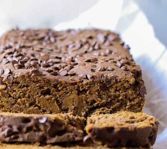 close up of gluten free pumpkin bread chocolate pumpkin bread