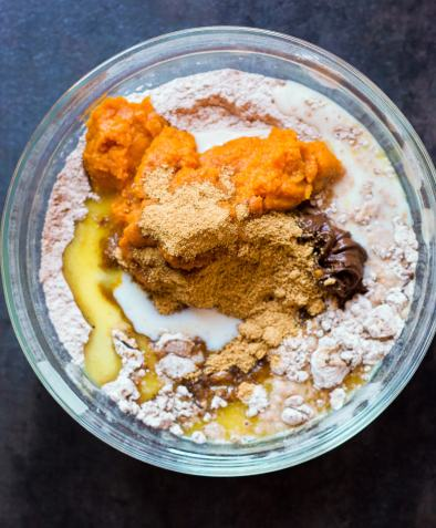 moist pumpkin bread ingredients in bowl